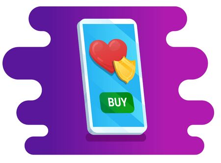 Cellphone and healthcare insurance with buy button on abstract background