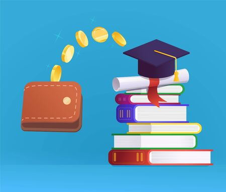 Graduation cap, wallet, stack of books and coins Ilustrace