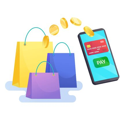 Vector money transfer from cellphone with pay button isolated on white. Shopping bags Ilustrace