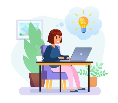 Young woman working with laptop sitting on chair. Pastel color. Yellow light bulb in bubble Ilustrace