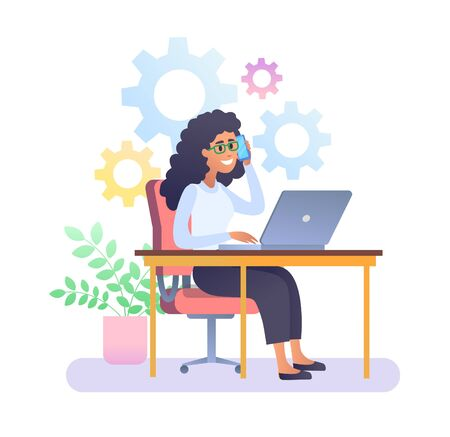 Young woman with glasses working with laptop
