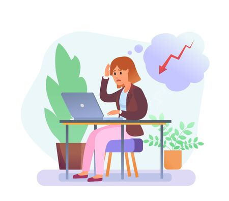 Troubled young woman working with laptop sitting on chair. Pastel color. Red arrow in bubble