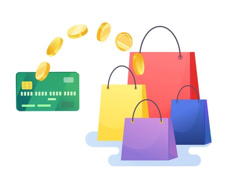 Money transfer from credit card with shopping bags Reklamní fotografie - 143775175