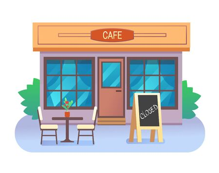 Cafe building closed with text in wooden frame