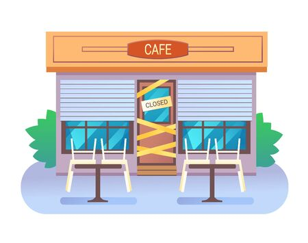 Cafe building closed with sign and yellow tape