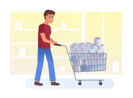 Terrified man with full cart buying toilet paper Ilustrace