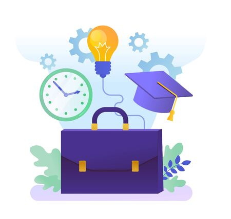 Vector illustration of briefcase with bulb, gears, clock and graduation cap