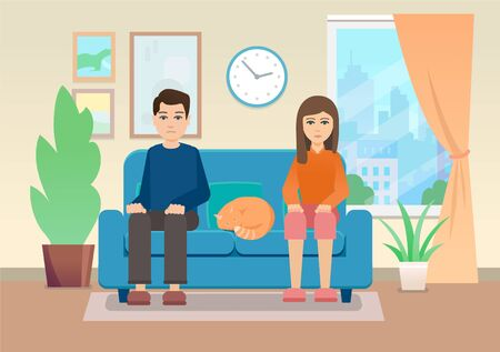 Young man and woman sitting on sofa at home Ilustrace