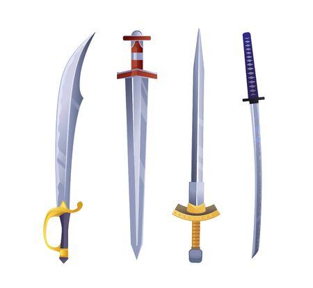 Set of cartoon game swords. Vector illustration.
