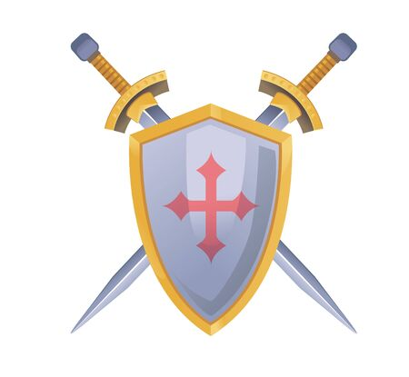 Two vector swords and shield with cross