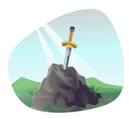 Legendary sword in stone. Excalibur with sun ray