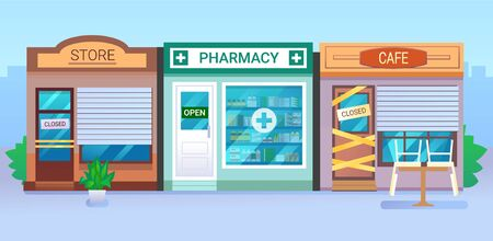 Pharmacy store building with vitrine and open sign. Isolated on white