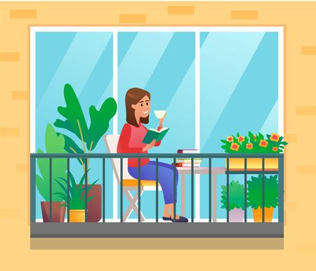 Young woman with book and coffee on balcony with plants and flowers, vector illustration