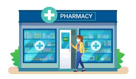 Young woman wearing mask goes to the pharmacy building. Vector illustration