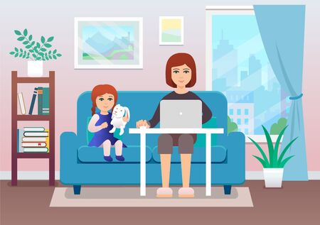 Illustration of young woman working at home with her kid. Flat style Ilustrace