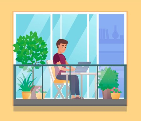 Young man working with laptop on open balcony with plants and flowers, vector illustration