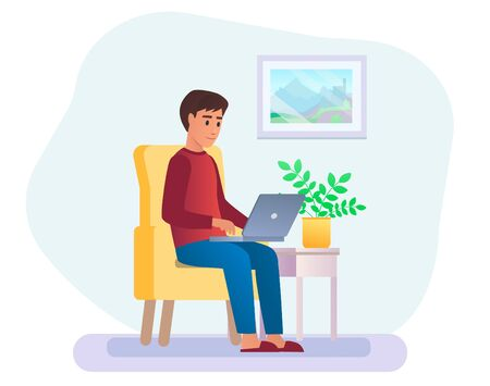 Young adult man working at home vector illustration. Freelancer character working from home with laptop sitting in armchair . Home office. Ilustrace