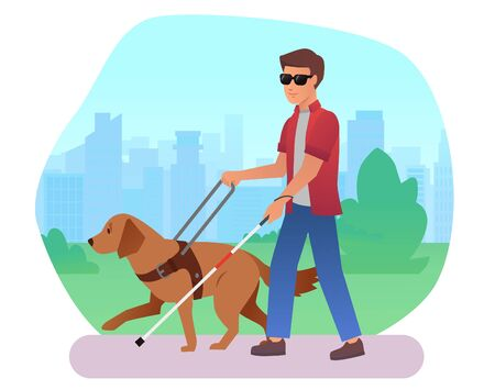Blind person with guide dog and walking stick .City park on background. Vector illustration of Disabled man Ilustrace