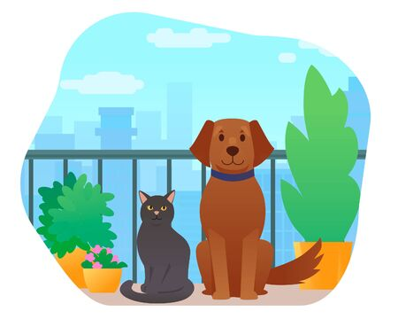 Cat and Dog sitting on balcony with plants Ilustrace