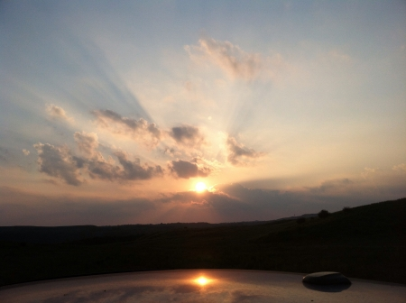 A drive on the mountains of southeast Kentucky watching the sun set  Imagens