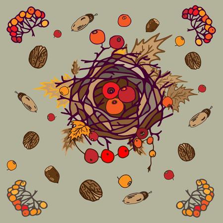 白い背景の秋の構成