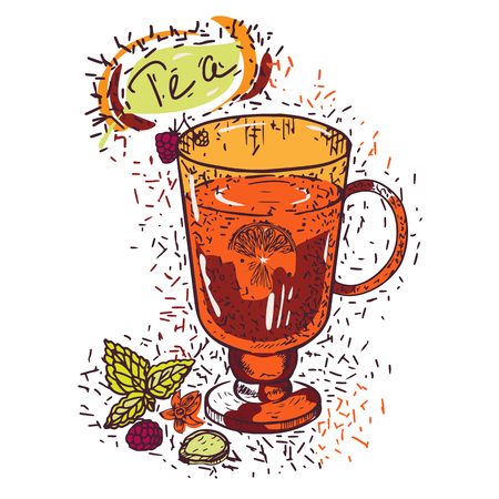 Aromatic tea with additives in a glass