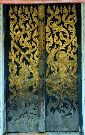 bldg: Doors and windows are very beautiful Buddhist Monastery. Stock Photo