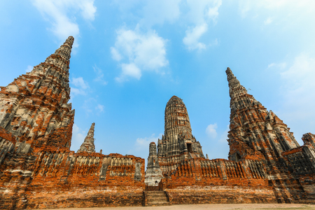 Asia,Temple,Thailand Temple,Wat chaiwatthanaram On the river Chao Phraya is the annual Temple assumed the reign of Ayutthaya King Prasat thong, 2173-Thailand country