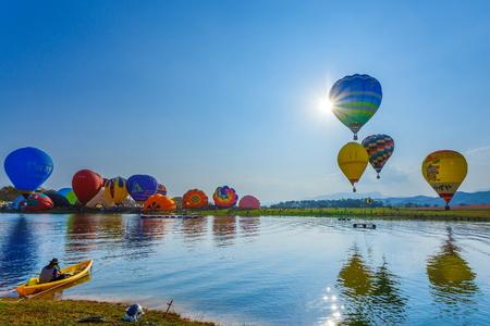 Balloons in sky ,Balloon Festival,Singhapark International Balloon Fiesta 2017,Chiang Rai, Thailand.
