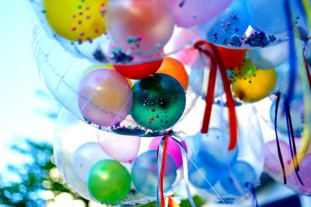 inflatable ball: Colorful balloons, balloons. Stock Photo