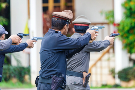 Police,Police gun,Police training weapons, Military and Security. Editorial