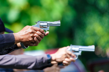 Police,Police gun,Police training weapons, Military and Security. Stock Photo