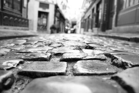 Paris cobblestone - black and white Stok Fotoğraf