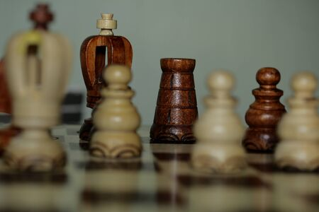 A chess pieces on the chess board with selective focus