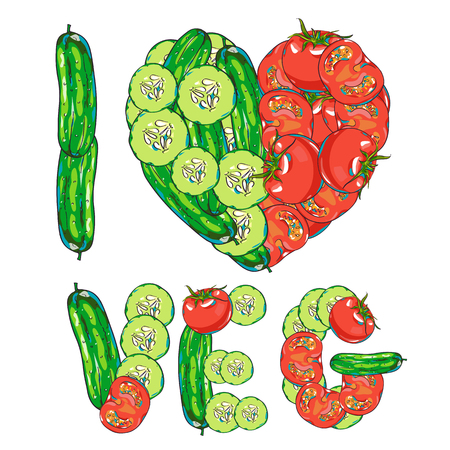 cucumbers: Vector heart vegetables set with tomatoes and cucumbers, hand drawn illustration Illustration