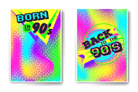 Vector poster templates with back to the 90s and born in the nineties inscriptions.