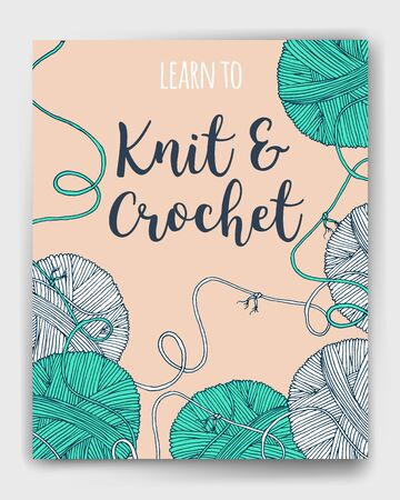 yarn balls book cover, mock up for knit and crochet classes poster or advertisement.