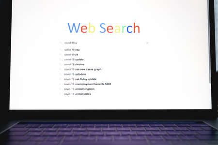 Web Search on subject Covid-19, query hints, 2021 web search concept