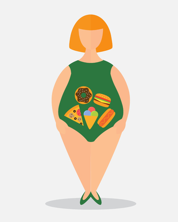 Vector flat illustration fat woman