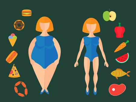 Fast food and healthy eating. Vector flat illustration woman before and after the diet