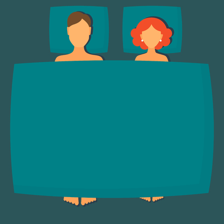 woman lying in bed: Vector flat illustration couple in bed man and woman