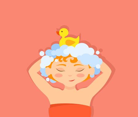 Vector illustration of a girl washing her head shampoo