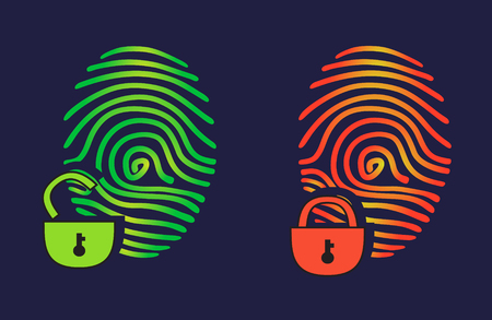 Vector illustration fingerprint scan. Passed and not passed authorization.