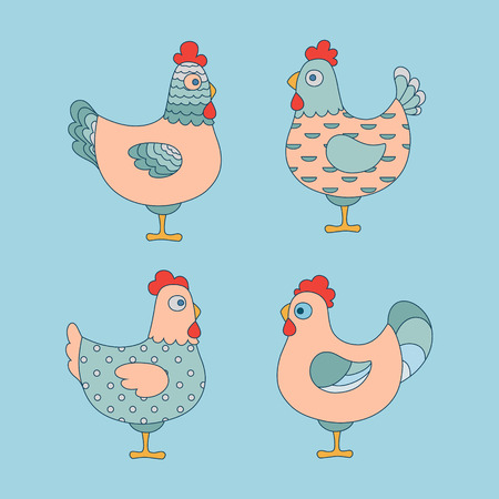 Cute cartoon chicken vector illustration Illustration