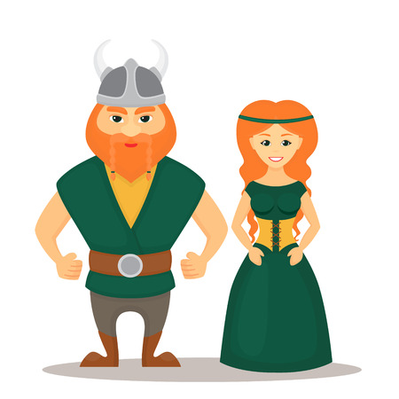 Cartoon characters of Vikings illustration.
