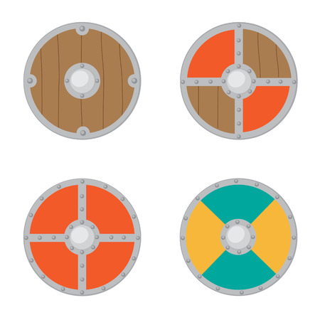 Set of viking shields illustration.