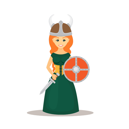 Viking woman with shield and sword illustration.