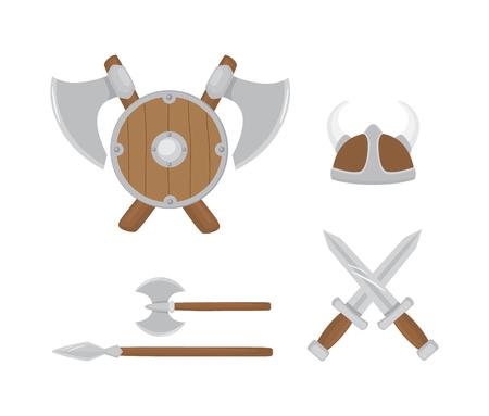 blade: Set of Viking weapons illustration.