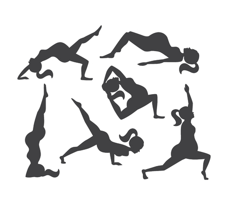 vector set of silhouettes of the pregnant women doing yoga