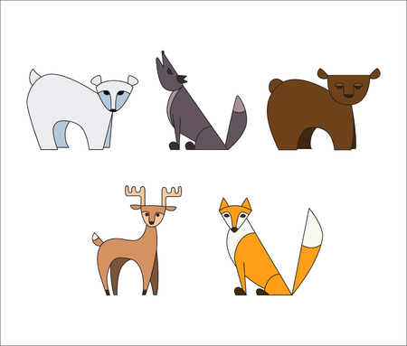 Vector set animals. Polar bear, Wolf, brown bear, deer, Fox